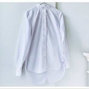 Frame White Cotton Oxford Button Down Shirt